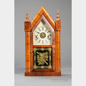 Rosewood Sharp Gothic Shelf Clock by Chauncey Jerome
