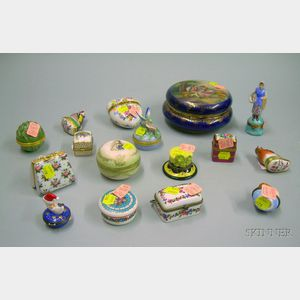 Fifteen Porcelain Trinket Boxes and a Hand-painted Genre Scene Decorated Porcelain   Dresser Box