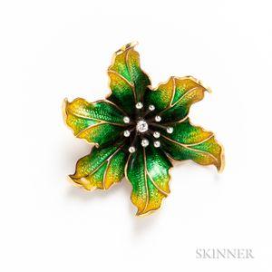 18kt Gold, Enamel, and Diamond Flower Brooch