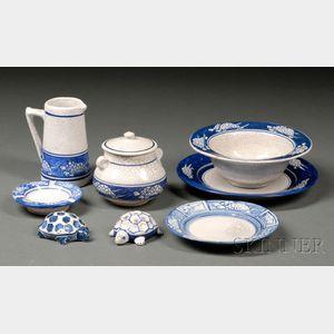 Eight Pieces of Dedham Turtle Pottery
