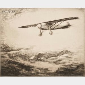 Levon West (American, 1900-1968)      Two Transcontinental Flight Views:  Newfoundland