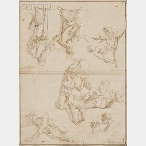 Francesco Salvator Fontebasso (Italian, 1709-1769)      Double-sided Sheet of Figure Studies
