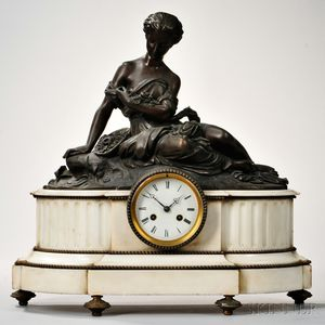 Bronze-mounted Marble Figural Mantel Clock