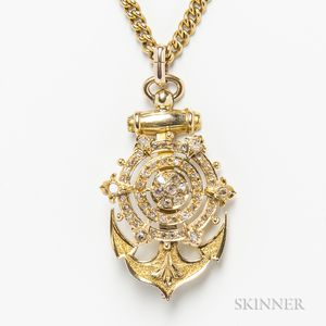 14kt Gold and Diamond Anchor Pendant on an 18kt Gold Chain