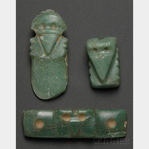Three Pre-Columbian Carved Jade Bird Pendants