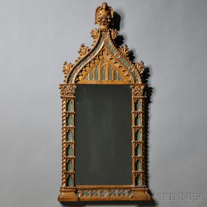 Early Renaissance-style Green-painted and Giltwood Frame