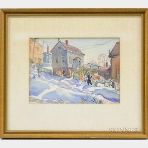 Aiden Lassell Ripley (American, 1896-1969)      Steep Sidewalk, Hibbard Street