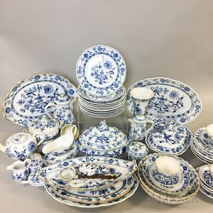 Extensive Mostly Meissen Blue Onion Porcelain Dinner Service.