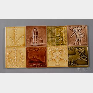 Eight Decorated Tiles: Various Makers