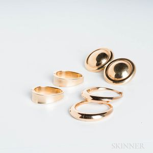 Three Pairs of 14kt Gold Earclips