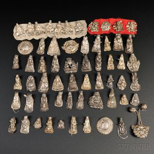 Approximately Sixty Silver Hat Ornaments