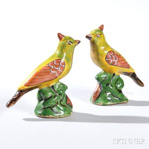 Two Polychrome Decorated Delft Birds