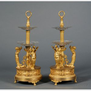 Sold for: $34,365 - Fine Pair of Empire Gilt-bronze and Colorless Cut Glass Two-tiered Servers