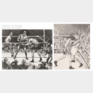 Joseph Webster Golinkin (American, 1896-1977)      Two Boxing Scenes:  The Man-Killer   (Dempsey vs. Tunney)