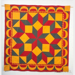 "Pieced Cotton ""Carpenter's Wheel"" Quilt"