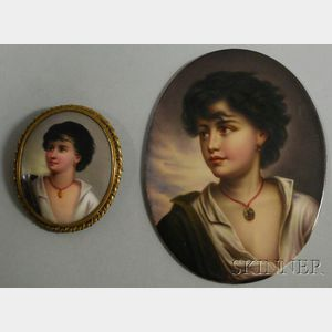 Two Miniature Oval Transfer and Hand-painted Portraits on Porcelain
