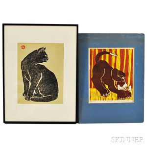 Two Animal Woodblock Prints:      Japanese School, 20th Century, Cat