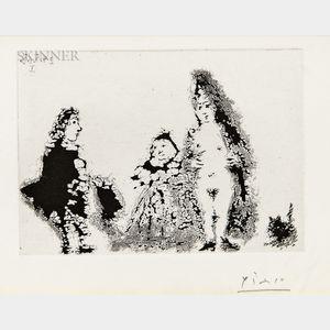 Pablo Picasso (Spanish, 1881-1973)      Célestine et fille, avec un chat et un jeune client