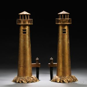 Pair of Cast Brass Lighthouse-form Andirons