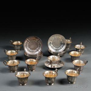 Set of Twelve Silver Teacups and Saucers
