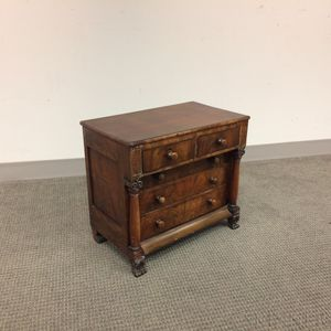 Miniature Empire Carved Mahogany Chest of Drawers
