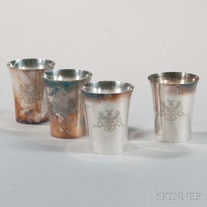 Four George III Sterling Silver Beakers