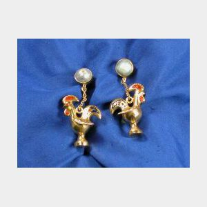 18kt Gold, Pearl, and Enamel Earpendants