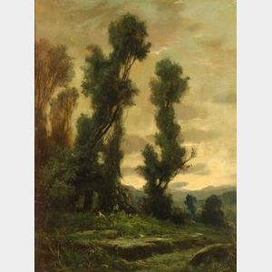 Continental School, 19th/20th Century  Lush Green Landscape, Dusk