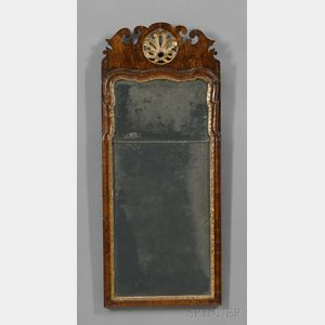 Queen Anne Carved Walnut and Gilt-gesso Mirror