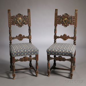 Pair of Polychrome Painted Renaissance-style Side Chairs