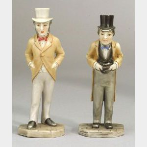 Two Royal Worcester Porcelain Political Menu Holders