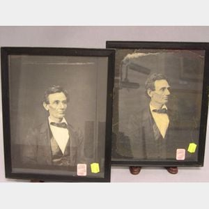 Two Framed Reproduction Portrait Photographs of Abraham Lincoln.