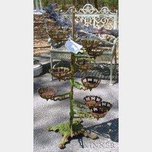Green-painted Cast Iron Adjustable Plant Stand