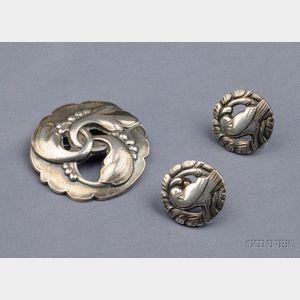 Sterling Silver Brooch and Earrings, Georg Jensen