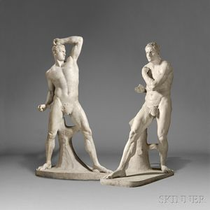 Sold for: $92,250 - After Antonio Canova (Italian, 1757-1822)       Pair of Carrara Marble Figures of the Pugilists Creugas and Damoxenos