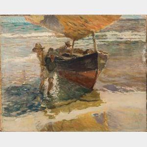 Arthur Clifton Goodwin (American, 1866-1929)      Two Men Beaching a Fishing Boat