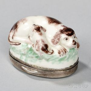 Silver-mounted Porcelain Snuff Box with Dog and Nursing Pup Motif