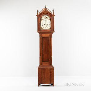 Cherry and Birch Inlaid Tall Case Clock