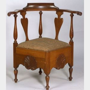 Chippendale Revival Mahogany Corner Chair