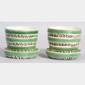 Pair of Mochaware Flowerpots with Saucers