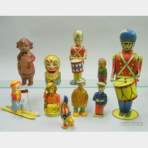 Ten Lithographed Tin Mechanical Toys