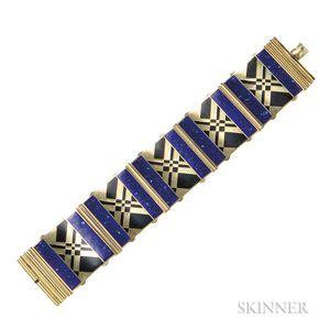Art Deco Gilt-silver and Enamel Bracelet