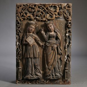 Italian Baroque-style Polychrome and Parcel-gilt Carved Wood Wall Plaque