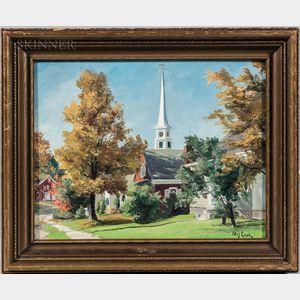 Otis Pierce Cook (American, 1900-1980)      New England Village, Early Fall