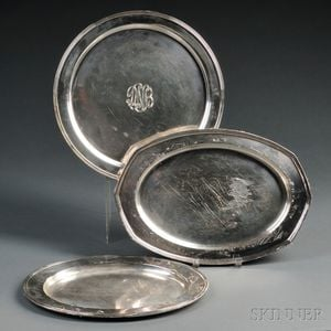 Three Assorted Sterling Silver Serving Trays