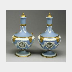 Pair of Wedgwood Gilt Bronze Mounted Three Color Jasper Barber Bottles and Covers