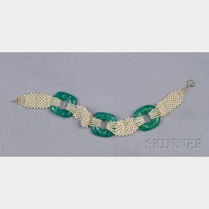 Seed Pearl and Carved Green Chalcedony Bracelet