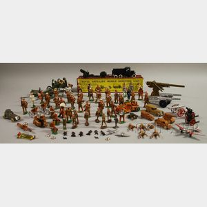 Group of Vintage Painted Lead and Metal Toy Military Figures and Vehicles