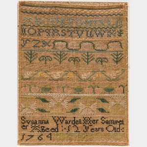 "Needlework Sampler ""Susanna Wardell,"""