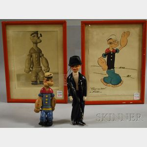 """Three """"Popeye"""" Items and a Painted Hard Rubber """"Charlie McCarthy"""" Figure/Doll"""